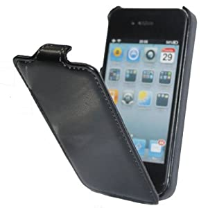 iGet (TM) Flip Cover Case for iPhone 4 & 4S All Models - Slim Design - BLACK