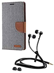 Aart Fancy Wallet Dairy Jeans Flip Case Cover for MeizumM2 (Grey) + Zipper Earphones/Hands free With Mic *Stylish Design* for all Mobiles- computers & laptops By Aart Store.
