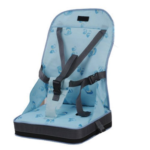 Portable Foldup Folding Baby Kid Toddler Infant Child Newborn Diner Feeding Travel High Chair Booster Seat Cover Safety Harness Cushion Pouch Bag (Blue) front-25733