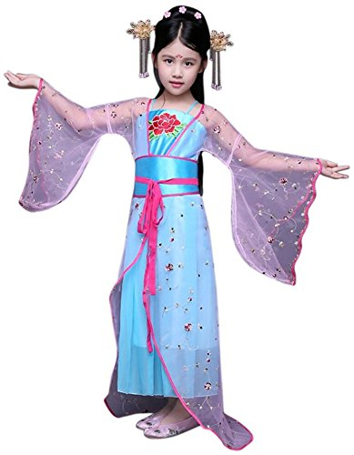 [CRB Chinese Asian Dynasty Girl Top Costume Dress (Child's Height 120cm, Blue)] (Chinese Dynasty Costume)