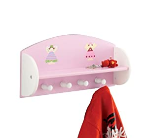 Zeller 13448 Princess - Estante con perchero infantil de tablero DM (48 x 12 x 23,5 cm), color rosa - BebeHogar.com