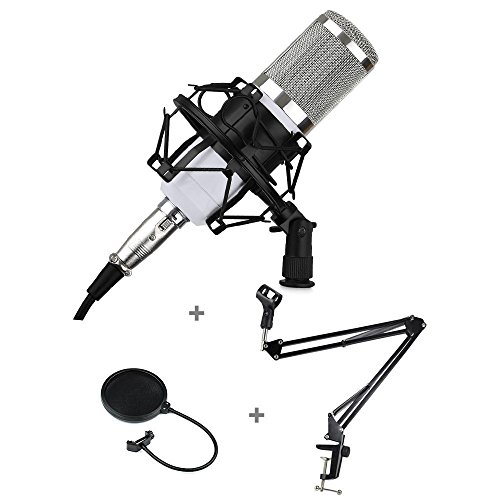 Wanway White and Silver BM800 Professional Condenser Microphone Mic Kit,Comes with Suspension Boom Scissor Arm Stand,Shock Mount,Pop Filter and XRL Cable For Studio Recording (White Condenser Mic compare prices)