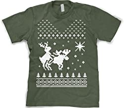 North Star Reindeer Humping Moose T Shirt Funny Ugly Sweater Christmas Tee from Crazy Dog Tshirts