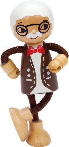 Hape Happy Family Poseable Wooden Grandfather Play Doll - 1