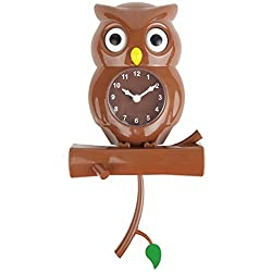 Lily's Home Pendulum Owl Clock with Revolving Eyes (Brown)