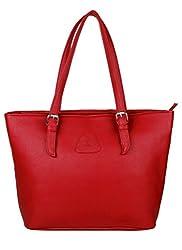 K London Medium Tote Women's Handbag with Zip (Red)(AZ_HBAG_BUCKL_RED)