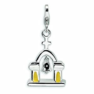 Sterling Silver 3-D Enameled Church with Moving Bell with Lobster Clasp Charm