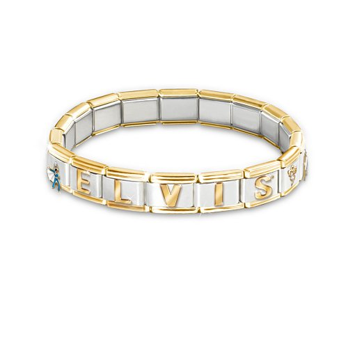 Forever Elvis Italian Charm Bracelet: Elvis Presley Jewelry Gift by The Bradford Exchange