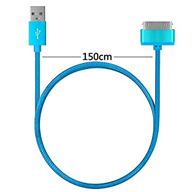 4.5ft Long iPhone 4 Cable,USB Sync and Charging Cable for iPhone 4/4S,iPhone 3G/3GS,iPad 1/2/3,iPod[Blue+purple+gold]