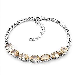 Pugster Yellow Swarovski Elements Crystal Adjustable Lobster Clasp Bracelet For Women