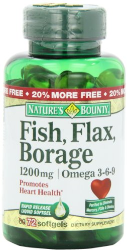 Nature's Bounty Omega 3-6-9 Fish Flax Borage 1200mg Softgel, 72-Count Bottle (Pack of 2) (Natures Bounty Omega 3 6 compare prices)