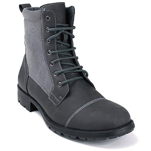 Alpine Swiss Men's Combat Boots Lug Sole Rugged Canvas Trim Military Field Shoes