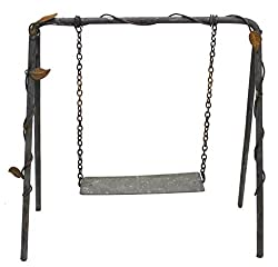 Miniature Rusted Heavy Gauge Steel Swingset With Vine Detail For Fairy Gardens, Crafting And Embellishing