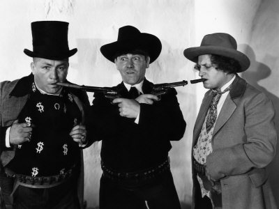 The Three Stooges (Moe, Larry, Curly) in a publicity still from Phony Express