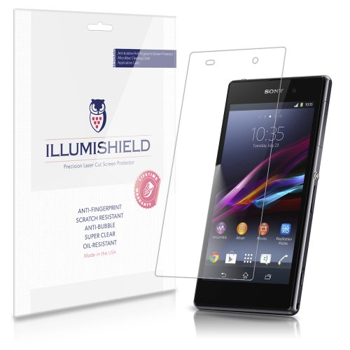 Illumishield - Sony Xperia Z1 Screen Protector Japanese Ultra Clear Hd Film With Anti-Bubble And Anti-Fingerprint - High Quality (Invisible) Lcd Shield - Lifetime Replacement Warranty - [3-Pack] Oem / Retail Packaging