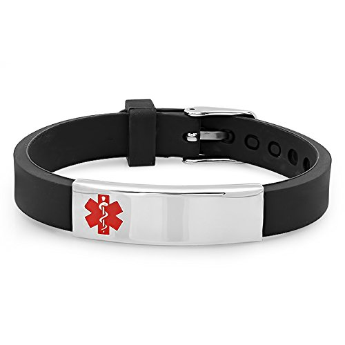 Free Engraving - Stainless Steel and Rubber Medical Id Bracelet (Stainless Steel Medical Bracelet compare prices)