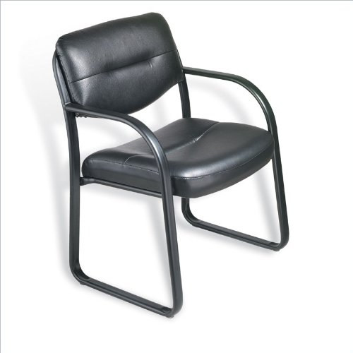 Boss B9529 Leather Sled Base Side Guest Chair, Black