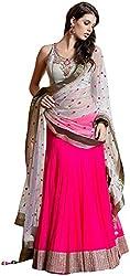 Madhuram Trading Women's Georgette Lehenga Choli (Pink)