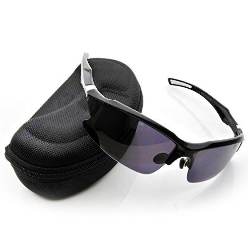 Generic 偏光 UV400 紫外線カット サングラス スポーツ サイクリング ランニング  メガネ メンズ レディース (ブラック&ホワイト)