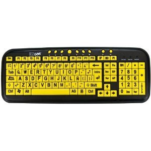 New And Improved: Ezsee By Dc Usb Wired Large Print Spanish Latin American Keyboard - Yellow Keys With Black Jumbo Large Letters For Low Vision, Dim Lighted Areas