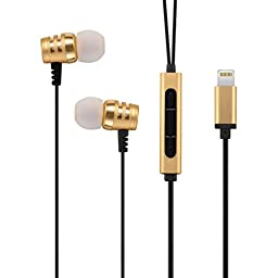 BobaTech Lightning Earphone for iPhone 7, 6S, 6, SE, 5S, 5C, 5, iPad, iPod - MFI Certified (Champagne Gold)