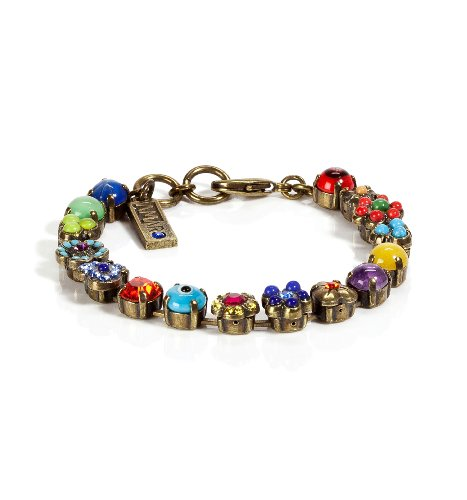'Vintage' Collection Dramatic Bracelet by Amaro Jewelry Studio Adorned with Flower and Heart Elements, Chinese Turquoise, Amazonite, Rhodonite, Blue Onyx, Pink Howlite, Yellow Jade, Green Jade, Amethyst, Swarovski Crystals