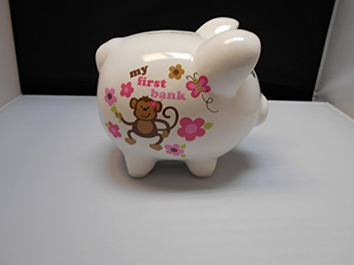 Tender Kisses My First Piggy Bank White with Monkey and Flowers - 1