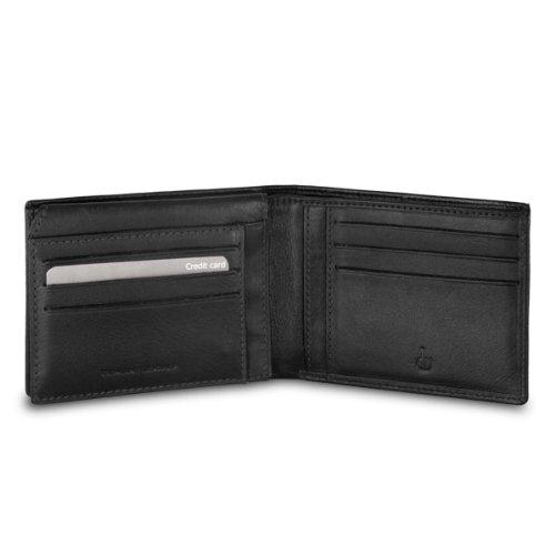Portafoglio in pelle da uomo con porta carte di credito DV Nero