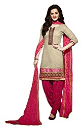 Leranath Fashion House Womens Pure Chanderi Material Cream, Pink Dress (LE10-276SUN-2)