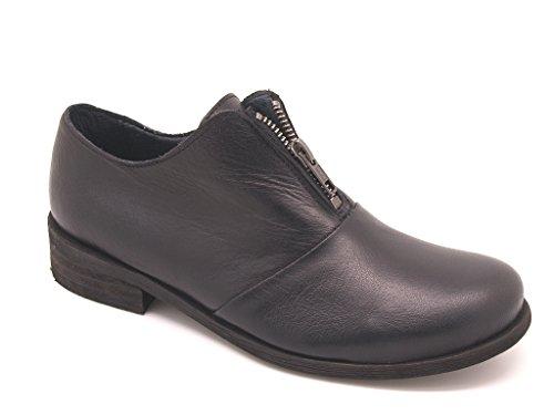 Felmini - Scarpe donna chiusura zip centrale, pelle nera, suola gomma, tacco 3 cm. EU 40