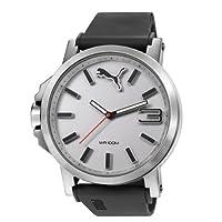 Puma Mens Gents Ultrasize Oversized Silver Bezel Black Plastic Strap Large Wrist Watch