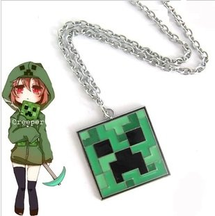 Minecraft Creeper Pendant Green Necklace by A-factory