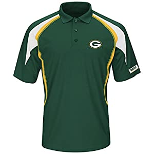 NFL Green Bay Packers Short Sleeve Synthetic Polo, Dark Green/Yellow Gold/White, X-Large