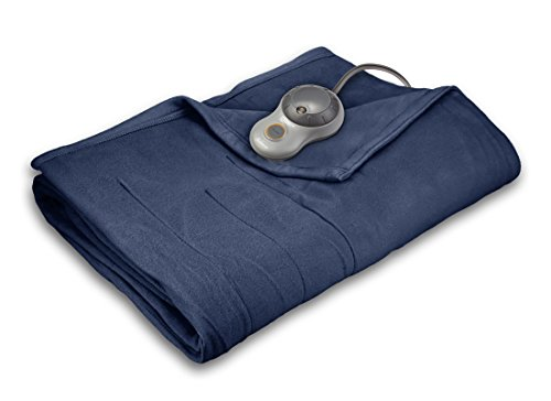 Find Discount Sunbeam Quilted Fleece Heated Blanket with EasySet Pro Controller, Twin, Lagoon
