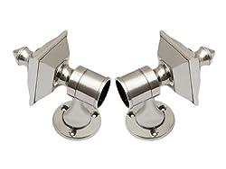 SmartShophar Zinc Curtain Bracket Hardware 2 Pc. Nickel Silver Finish Opal