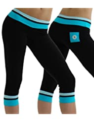 Margarita Turquoise and Blue Rings Capri Leggings