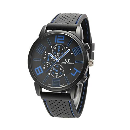 Kano Bak Racing Sport Watch Military Pilot Aviator Army Style Black Silicone Boy Men'S Gift Watches Blue