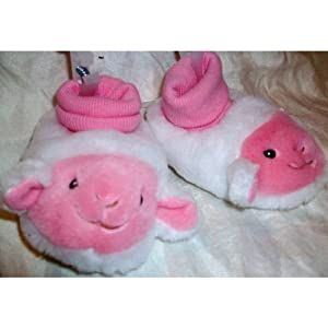 Baby Girl or Boy Plush Soft Warm Shoes Slippers , Goat Sheep Lamb Booties Size 6-12 Months, Great for Halloween Costume