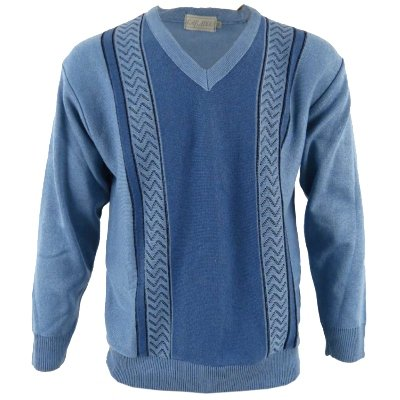 Mens Light Blue V-Neck Knit Jumper Retro Christmas Sweater