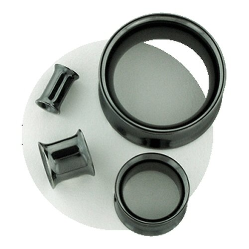 One Black PVD Stainless Steel Double Flared Eyelet: 0g 3/8