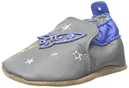Robeez Space and Stars Soft Sole Crib Shoe (Infant), Grey/Blue, 0-6 Months M US