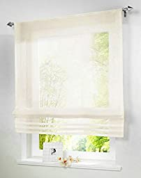 G001 Rod-Packet Sheer Kitchen Balcony Voile Roman Curtain 1PCS (31.5 x 61 Inch, Beige)