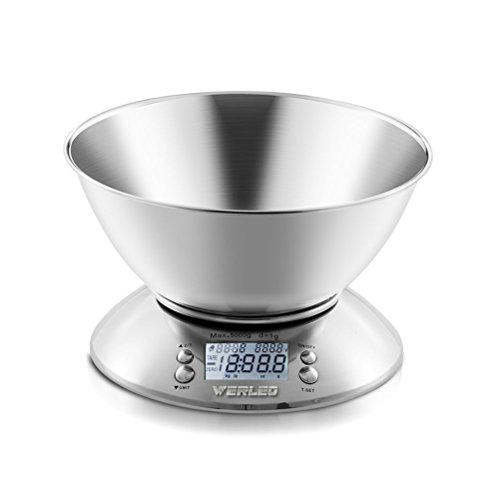 Werleo 11lb 5kg 2.15L Digital Kitchen Food Scale Electronic Baking Cooking Scale in grams ounces Multifunction Kitchen Scales with Bowl,Stainless Steel,Alarm Timer,Temperature,Backlight LCD Display