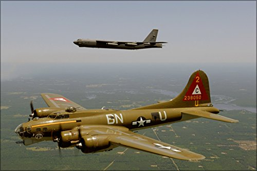 24x36 Poster; A B-17G Flying Fortress (Nose Art Thunderbird), Below, And A B-52H Stratofortress Flying In A Heritage Flight Formation 2006