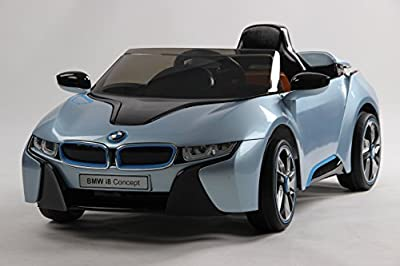 LICENSED BMW I8 CONCEPT NEW DESIGN BLUE12V TWIN MOTORS KIDS RIDE ON CAR WITH 4 WYAS PARENTAL REMOTE CONTROL + mp3 input + lcd lights + 2 speed option. (BMW I8 BLUE)