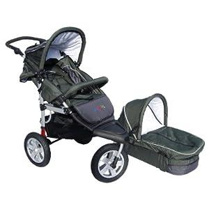 MovieStar! Jogger, Sportwagen, Kinderwagen mit stabilem Alurahmen, Vollausstattung - olivgrün