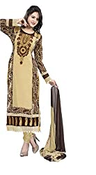 Indian Boutique Beige Color Georgette Fabric Semi Stitch Suit With Bottom and Dupatta