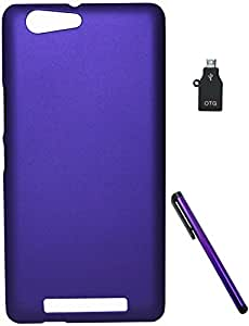 FCS Rubberised Hard Back Case For Gionee Marathon M5 With Capacitive Touch Screen Stylus And OTG Adaptor