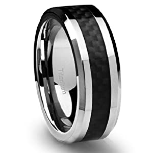 8MM Men's Titanium Ring Wedding Band Black Carbon Fiber Inlay and Beveled Edges [Size 9] by Cavalier Jewelers