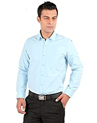 JHAMPSTEAD Full Sleeves Plain 100% Cotton Slim Fit Sky Blue Shirt